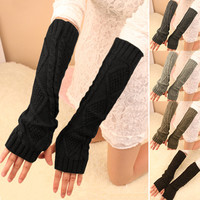 Fashion Women Winter Warm Knitted Fingerless Long Gloves Mitten Hand Arm Warmer Glove 5 Colors A1
