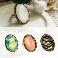 Fashion Retro Vintage Style Queen Peacock Leopard Artificial Stone Ring Gemstone