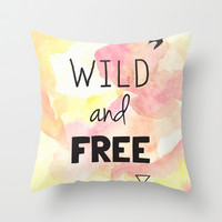 Wild and Free Throw Pillow by Hannah Ison