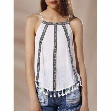 Chic Spaghetti Strap Tribal Print Fringed Women's Tank Top - White S