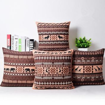 Bohemian Style Cushion Cover Set Passionate Elephant Floral Printed African style Throw Cushion Cover Pillow Case for Sofa