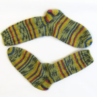 Hand knit washable womens socks, wool/cotton blend