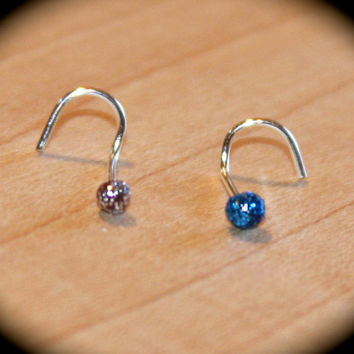 Set of 2 - Small Nose Studs, 22 gauge, Silver and Blue Itty Bitty 2mm Nose Studs, Small Nose Ring, Piercing Jewelry, Cartilage Earrings