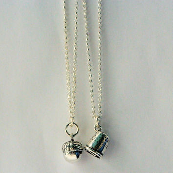 Peter Pan & Wendy Kiss Thimble and Acorn TWO Necklace Set - Men - Women - Sweetheart - Lover - Sister - Best Friend Solid Sterling Silver