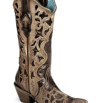 Corral Chocolate Tooled Cowgirl Boot - Pointed Toe - Sheplers