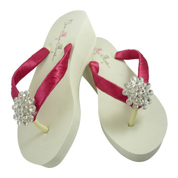 Fuchsia Bling Wedge Flip Flops for the Wedding with Jewels in Ivory or White Heel Sandals