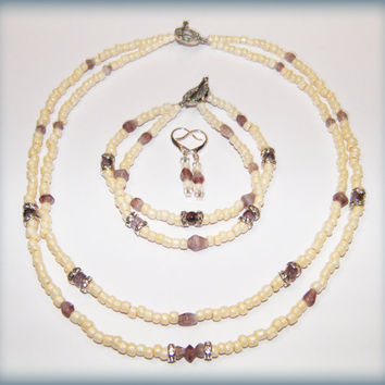 Bohemian Beach Bridal Set in mauve and cream, with rhinestone beads and toggle clasps, nickel-free ear wires (necklace, bracelet, earrings)