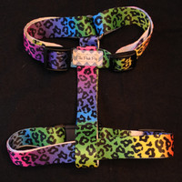 Handmade Rainbow Leopard Adjustable Dog Harness