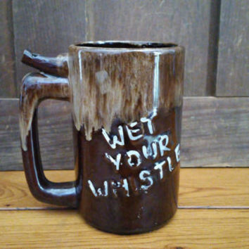 Vintage Glazed Wet Your Whistle Beer Mug Stein Wet Your Whistle