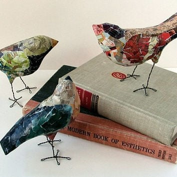 CUSTOM ORDER EXAMPLE / Paper Mache' Bird / Whimsical Creatures / Recycled Materials / One Of A Kind Original Art / Unique Holiday Gift