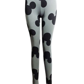 Mickey Mouse Print Elastic Leggings