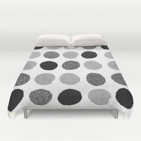 Yves - greyscale monochrome minimal pattern dots art print cell phone case for modern decor Duvet Cover by CharlotteWinter
