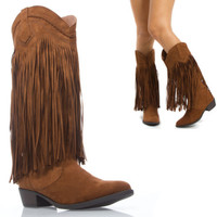 Women Tan Mid Calf Knee High Cowboy Western Fringe Tassel Low Heel Boot US 5-10