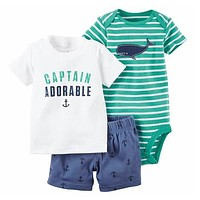 2017 new model Summer baby boy clothing set Baby Rompers Kids Clothes 3pcs Baby Clothes Set Girl Romper Suit Cotton