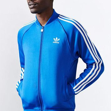 DCCKYB5 adidas Superstar Royal Blue and White Track Jacket