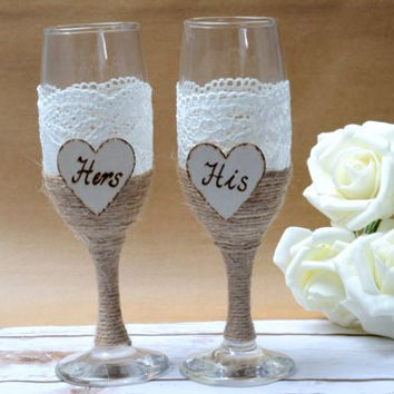 Wedding Glasses Champagne Toasting Glasses Burlap Lace Rustic Flutes