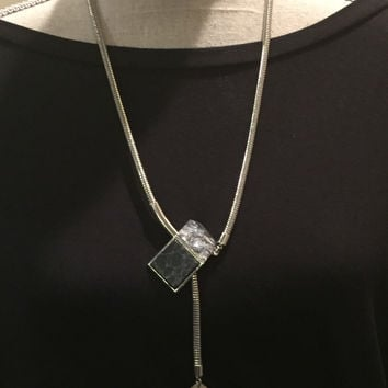 Silver Necklace with Adjustable Length Pendant