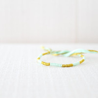 Friendship Bracelet Mint and Gold Embroidery Threads / Stocking Stuffer