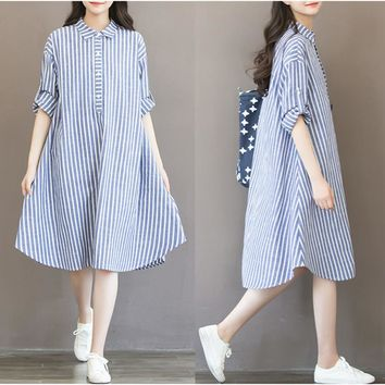 Maternity Dresses Long Sleeve Dress Striped Pregnancy Blouses Maternity Clothes For Pregnant Women Vestdios W99