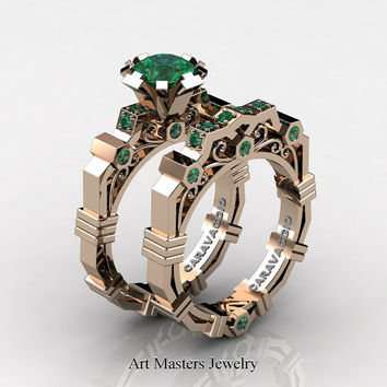 Caravaggio Modern 14K Rose Gold 1.0 Ct Emerald Engagement Ring Wedding Band Set R624S-14KRGEM