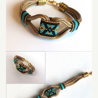Mothers Day ON SALE Delica Beaded Bracelet, Boho Bracelet, Peyote Bracelet, Spring Bracelet, Leather Bracelet, Gold Plated Delica Beads,  Su