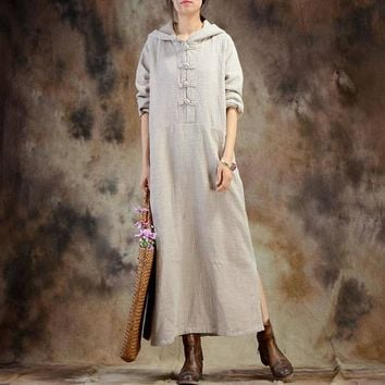 ZANZEA Cotton Linen Kaftan Long Sleeve Retro Frogs Button Split Hem Hooded Pullover Fashion Vestido Loose Solid Basic Maxi Dress