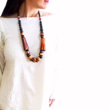 African Bone Wood necklace, Big bead chunky necklace, Natural Brown, Mystic Ethnic Jewelry, Designer Jewelry
