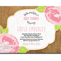 Burlap Floral Baby Shower Invitation Lace Pink Green Baby Girl Rose Garden Party Invite DIY Printable or Printed - Gayle Style