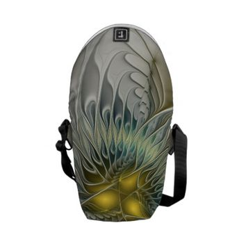 Golden Flower Fantasy, abstract Fractal Art Courier Bag
