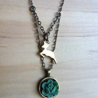 Doe and Flower Necklace - Snape Doe Patronous and Green Lily - Harry Potter