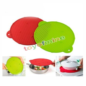 Silicone Splatter Guard Pan Skillet Pan Cover lid Round Spill Strainer Trivet