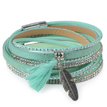 Teal Rhinestone Feather Wide Multilayer Leather Bracelet Magnetic Tassel Bracelet Women Wrap Charm Boho Bohemian Bracelets Bangle Men