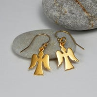 Initital gold angel earrings, guardian angel earrings, protection earrings, small angel charm, baptism gift, confirmation, christmas gift