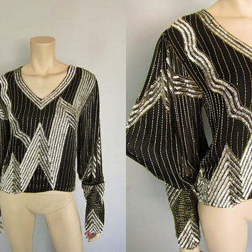 Vintage 80s Sheer Silk Sequin Beaded Lightning Bolt Top Poet Sleeve 1980s Black Silver Gold Hustle Disco Party Cocktail Blouse Deco