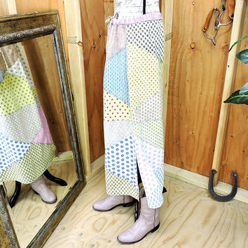 Patchwork maxi skirt / M / L / long cotton pastel skirt / drawstring  / 70s boho hippie country skirt