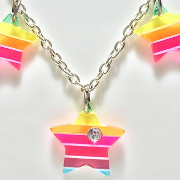 Vtg 1990s Rainbow Star Charm Necklace / Silver Tone Chain / 7 Plastic Star Charms / Retro Lisa Frank Style Girly Jewelry / 90s Nostalgia