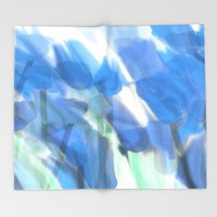 Meadow Flowers  In Soft Blue Throw Blanket by Jen Warmuth Art And Design