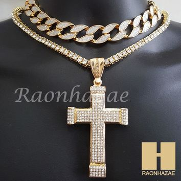 """Hip Hop Iced Out Gold Cross Pendant 16"""" Iced Out Choker 18"""" Tennis Chain 5"""