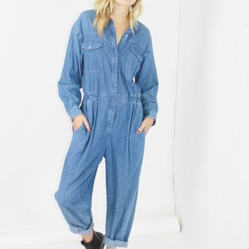 denim JUMPSUIT industrial workwear jean jumpsuit long sleeve one piece medium large extra large