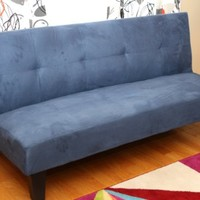 Home Life Navy Blue Microfiber With Adjustable Back Klik Klak Sofa Futon Bed Sleeper Convertible Quality