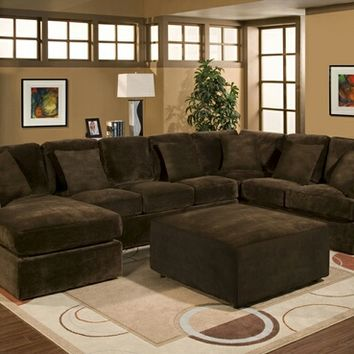 3 pc Bradley Sectional sofa with chocolate plush velour microfiber fabric upholstery and chaise with throw pillows