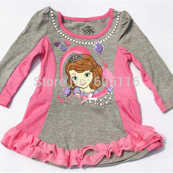 Children/kids/girls SOFIA autumn/spring clothing / top / long sleeve T-shirt / dress , christmas gift for girl