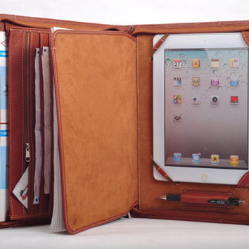 4004Top grain Multi-functional leather iPad case as your iPad portfolio for your iPad 1 and iPad 2 and iPad3 in Brown