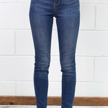 Mid-Rise Faded Blue Skinny Jeans {Med Dk}