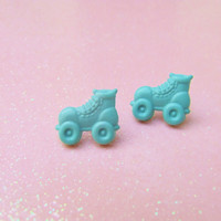 Teal Green Roller Skate Earrings - Roller Derby Girl Earrings - Post Earrings - Stud Earrings - Hypoallergenic Nickel Free