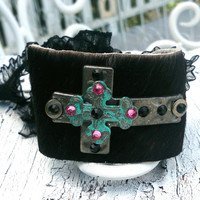 Turquoise Patina Hair On Hide Leather Cross Cuff Bracelet Western Cowgirl Religious Jewelry