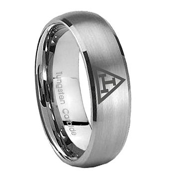8MM Classic Satin Silver Dome Masonic Triple Tungsten Laser Engraved Ring