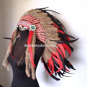 Indian feather headdress and headdress for general use chief hat and top grade feather ornament wall decoration to be made to or