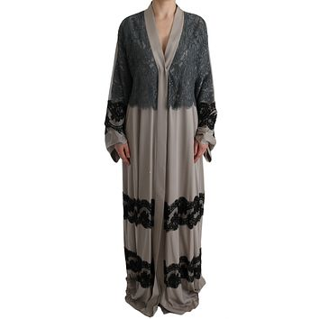 Gray Floral Applique Lace Kaftan Dress
