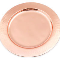 "11"" Hammered-Rim Copper Charger Plate, Chargers"